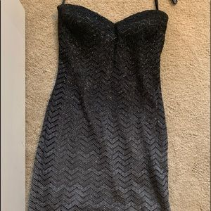 Strapless Homecoming Black & Grey sparkly dress